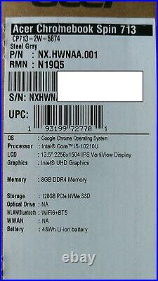 Acer Chromebook Spin 713 13.5 2K IPS Laptop i5-10210U 8GB 128GB CP713-2W-5874