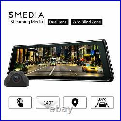R0011 9.88 HD IPS Touch Screen Mirror Dash Cam Stream Media Dual lens G-Sensor